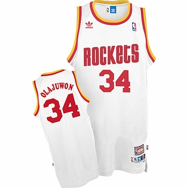 Houston Rockets Hakeem Olajuwon Adidas White Throwback Replica Premiere Jersey
