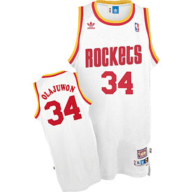 Houston Rockets Hakeem Olajuwon Adidas White Throwback Replica Premiere Jersey - Large