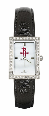 Houston Rockets Women's Black Leather Strap Allure Watch