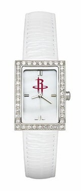 Houston Rockets Women's White Leather Strap Allure Watch