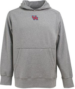 Houston Mens Signature Hooded Sweatshirt (Color: Gray) - Medium