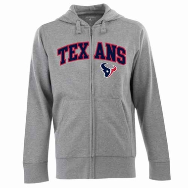 Houston Texans Mens Applique Full Zip Hooded Sweatshirt (Color: Gray)