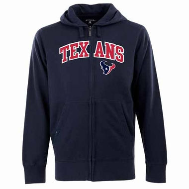 Houston Texans Mens Applique Full Zip Hooded Sweatshirt (Color: Navy)
