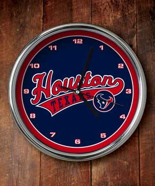 Houston Texans Chrome Clock