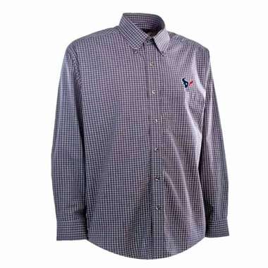 Houston Texans Mens Esteem Check Pattern Button Down Dress Shirt (Team Color: Navy)