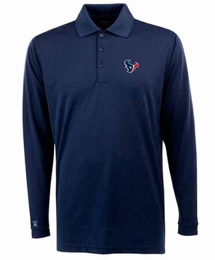 Houston Texans Mens Long Sleeve Polo Shirt (Color: Navy)