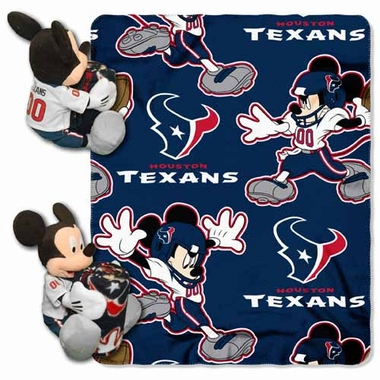 Houston Texans Mickey Mouse Pillow / Throw Combo