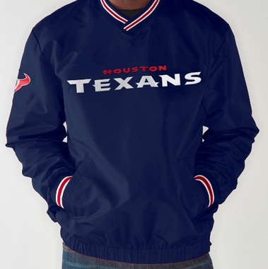 Houston Texans NFL Match-Up Wordmark Pullover Embroidered Jacket - Navy
