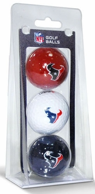 Houston Texans Set of 3 Multicolor Golf Balls