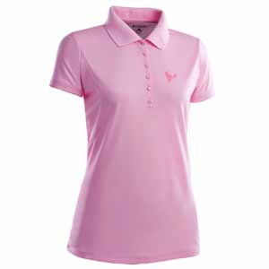 Houston Texans Womens Pique Xtra Lite Polo Shirt (Color: Pink) - Large