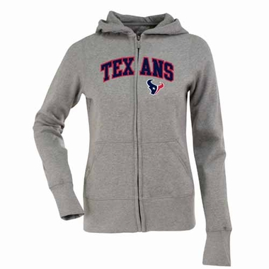 Houston Texans Applique Womens Zip Front Hoody Sweatshirt (Color: Gray)