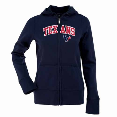 Houston Texans Applique Womens Zip Front Hoody Sweatshirt (Team Color: Navy)