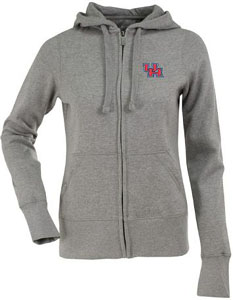 Houston Womens Zip Front Hoody Sweatshirt (Color: Gray) - Large
