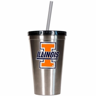 Illinois 16oz Stainless Steel Insulated Tumbler with Straw