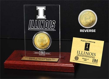 Illinois Fighting Illini University of Illinois 24KT Gold Coin Etched Acrylic