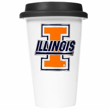 Illinois Ceramic Travel Cup (Black Lid)