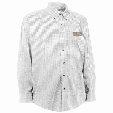 Illinois Mens Esteem Check Pattern Button Down Dress Shirt (Color: White)
