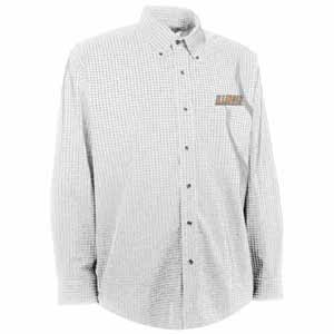 Illinois Mens Esteem Check Pattern Button Down Dress Shirt (Color: White) - Small