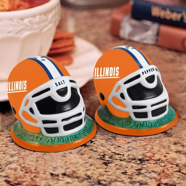 Illinois Helmet Ceramic Salt and Pepper Shakers