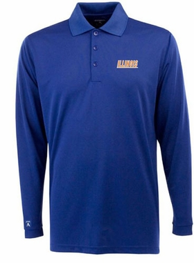 Illinois Mens Long Sleeve Polo Shirt (Team Color: Navy)