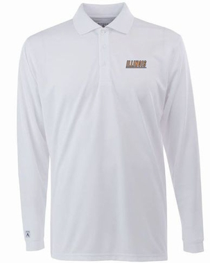 Illinois Mens Long Sleeve Polo Shirt (Color: White)