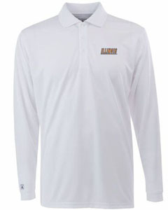Illinois Mens Long Sleeve Polo Shirt (Color: White) - Large