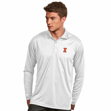 Illinois Mens Long Sleeve Polo Shirt (Color: White) - Small