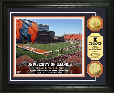 Illinois Fighting Illini University of Illinois Stadium Gold Coin Photo Mint
