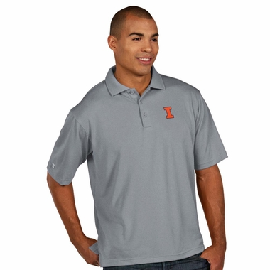 Illinois Mens Pique Xtra Lite Polo Shirt (Color: Gray)