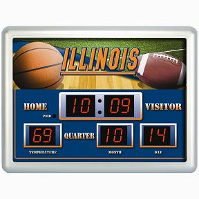 Illinois Time / Date / Temp. Scoreboard