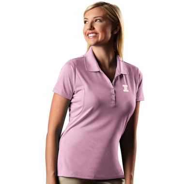 Illinois Womens Pique Xtra Lite Polo Shirt (Color: Pink) - Medium