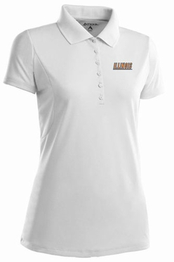 Illinois Womens Pique Xtra Lite Polo Shirt (Color: White)