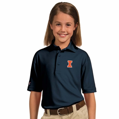 Illinois YOUTH Unisex Pique Polo Shirt (Team Color: Navy)