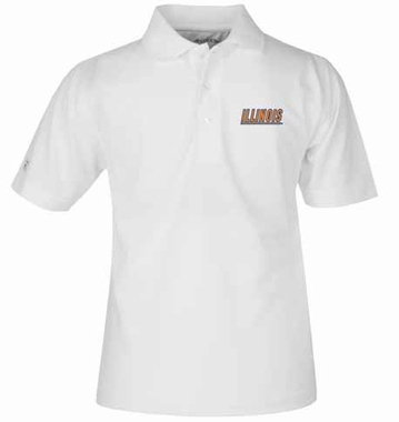 Illinois YOUTH Unisex Pique Polo Shirt (Color: White)