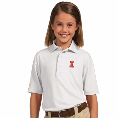 Illinois YOUTH Unisex Pique Polo Shirt (Color: White) - Large