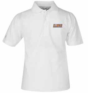 Illinois YOUTH Unisex Pique Polo Shirt (Color: White) - X-Large