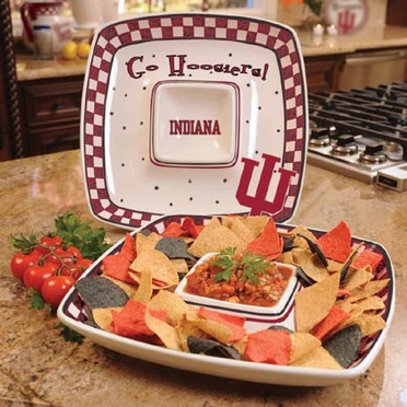 Indiana Gameday Ceramic Chip and Dip Platter