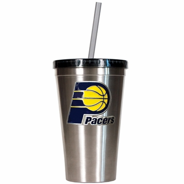 Indiana Pacers 16oz Stainless Steel Insulated Tumbler with Straw