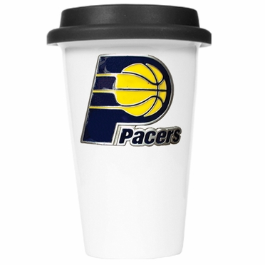 Indiana Pacers Ceramic Travel Cup (Black Lid)