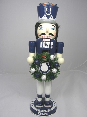 Indianapolis Colts 14 Inch Wreath Nutcracker Figurine