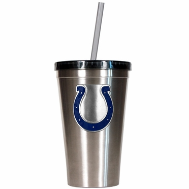 Indianapolis Colts 16oz Stainless Steel Insulated Tumbler with Straw