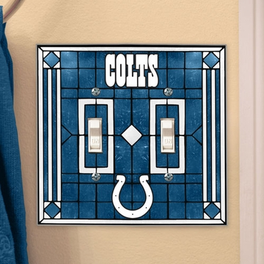Indianapolis Colts Art Glass Lightswitch Cover (Double)
