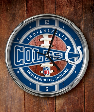 Indianapolis Colts Chrome Clock