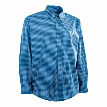 Indianapolis Colts Mens Esteem Check Pattern Button Down Dress Shirt (Team Color: Royal)
