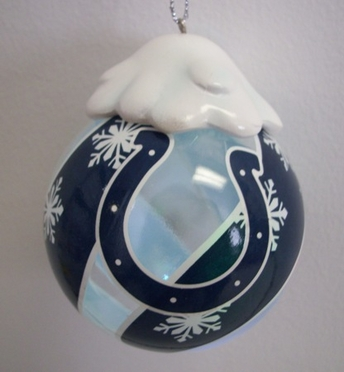 Indianapolis Colts Light Up Glass Ball Ornament