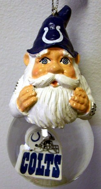 Indianapolis Colts Light Up Gnome Snow Globe Ornament