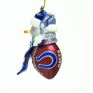 Indianapolis Colts Striped Acrylic Touchdown Snowman Ornament (Set of 4)