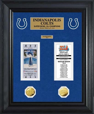 Indianapolis Colts Indianapolis Colts Super Bowl Ticket and Game Coin Collection Framed