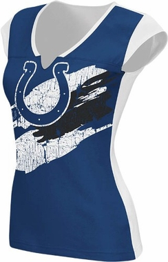 Indianapolis Colts Womens Face Paint Split Neck Top