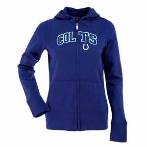 Indianapolis Colts Applique Womens Zip Front Hoody Sweatshirt (Team Color: Royal) - Large